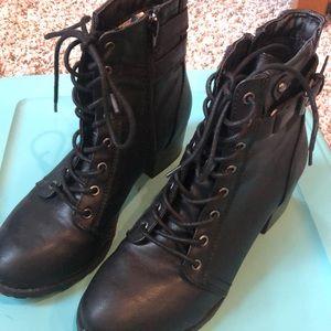 Chunky heel combat style boot